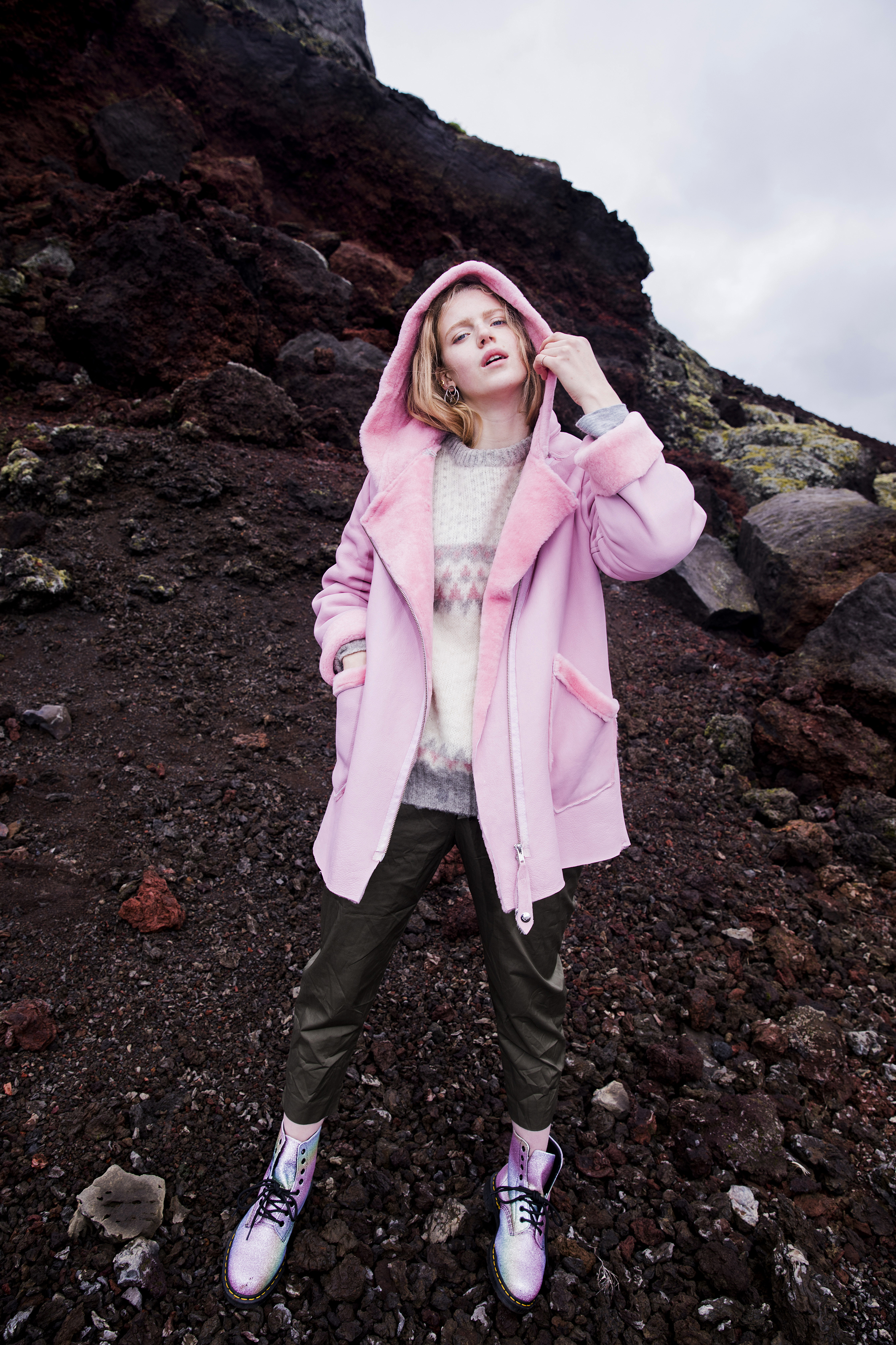 """""""For a different spin off the glacier, I styled Liv in the shearling in true Nordic style: Icelandic sweater, slouchy fatigues and glittery combat boots."""""""