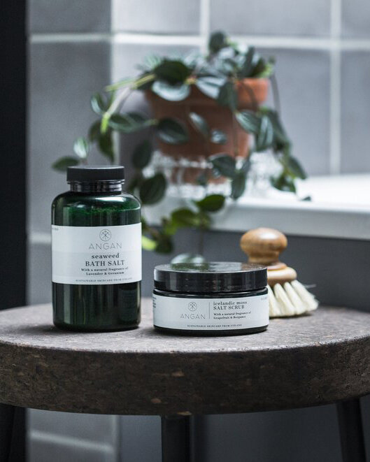 Pamper - Try Angan, a new line of sustainable Icelandic bath products and scrubs from architect, nature lover and Therma Kota customer Iris Laxdal. Because bathing is an art that Icelanders have mastered and who can resist chic packaging? www.anganskincare.com