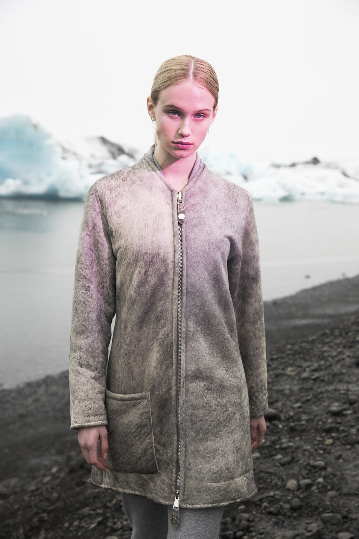 Step One - Apply a base layer. The GUDRUN is our streamlined shearling. It's reversible, cozy, sleek and a prime blank canvas for accessories.
