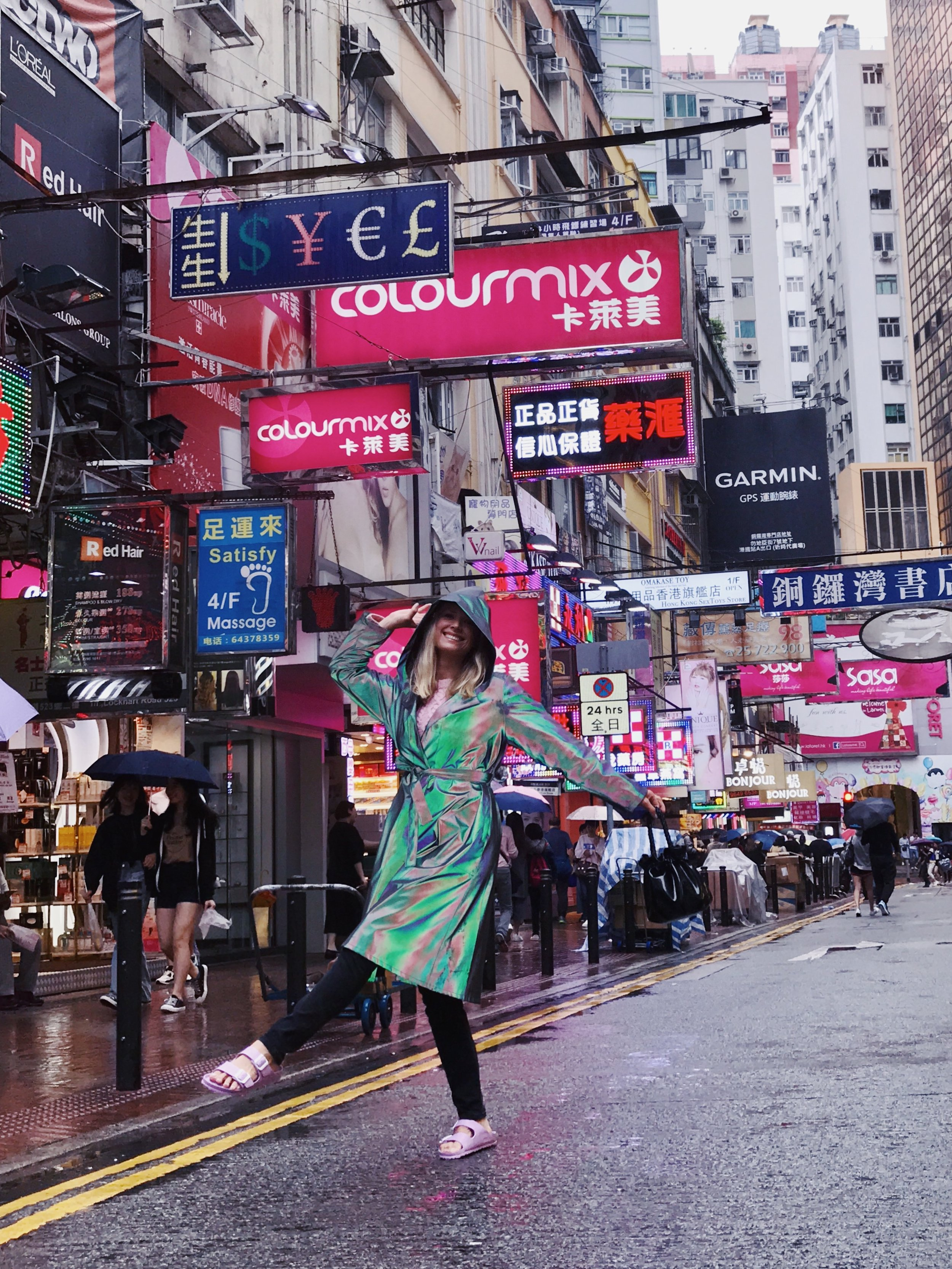 Mosha in Therma Kota Aurora raincoat in Hong Kong.JPG