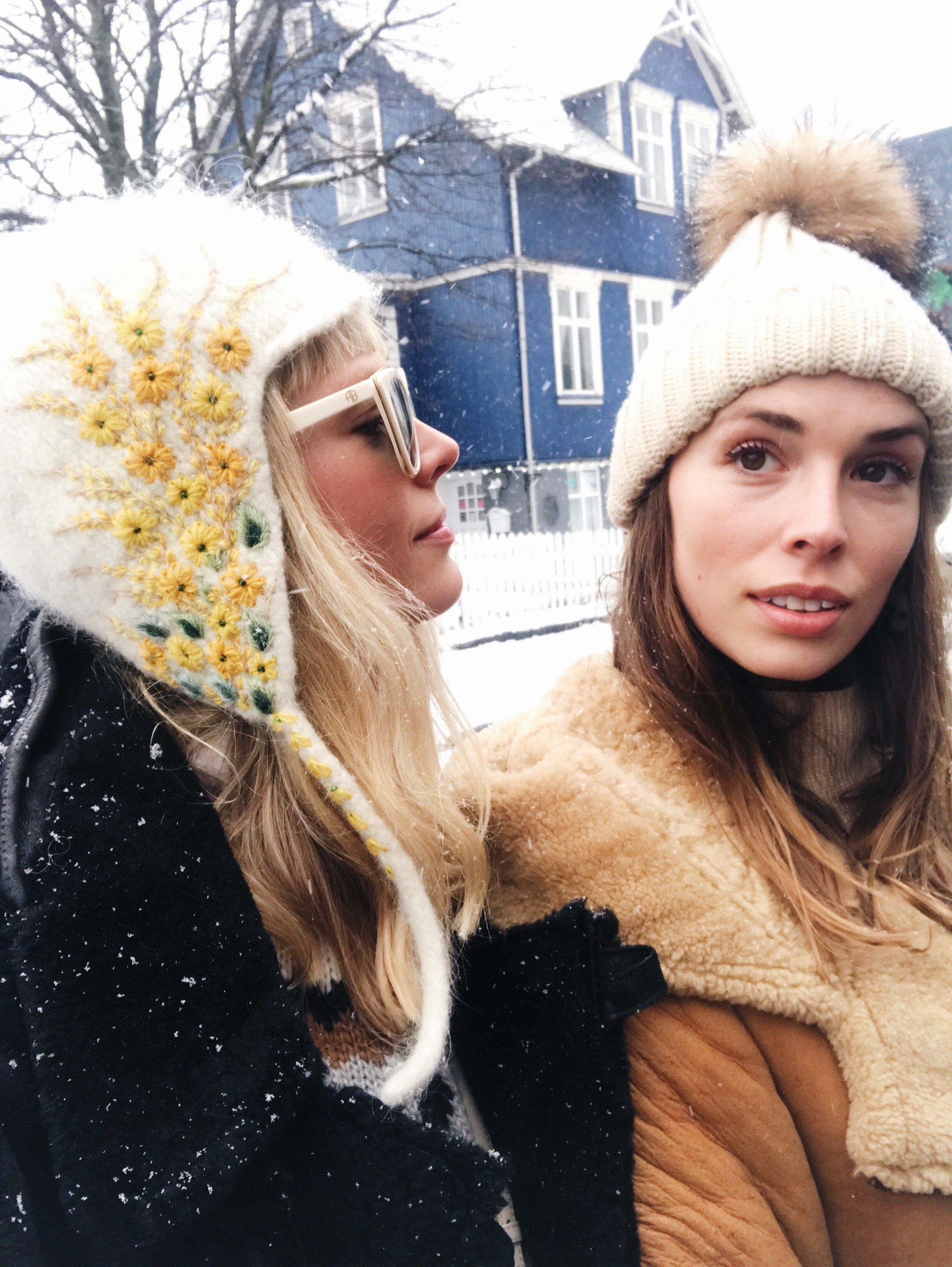 Mosha and sister Sophie Lundstrom Halbert on location shooting therma kota campaign in Reykjavik.JPG