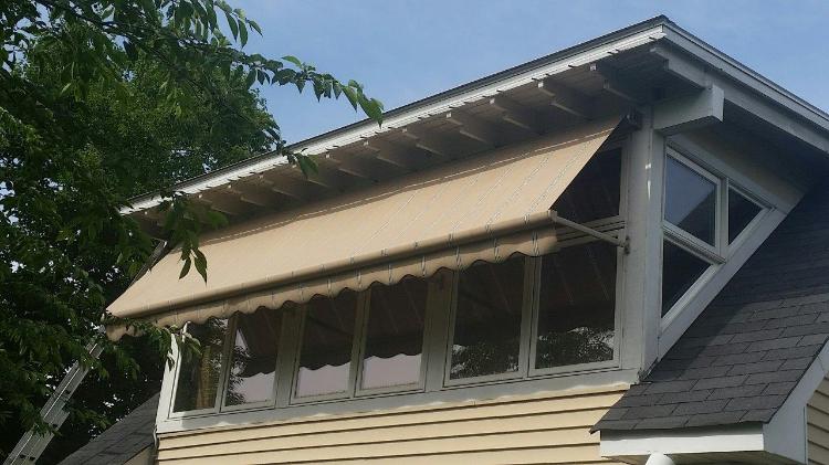 Window Robusta Retractable Awning Half Way