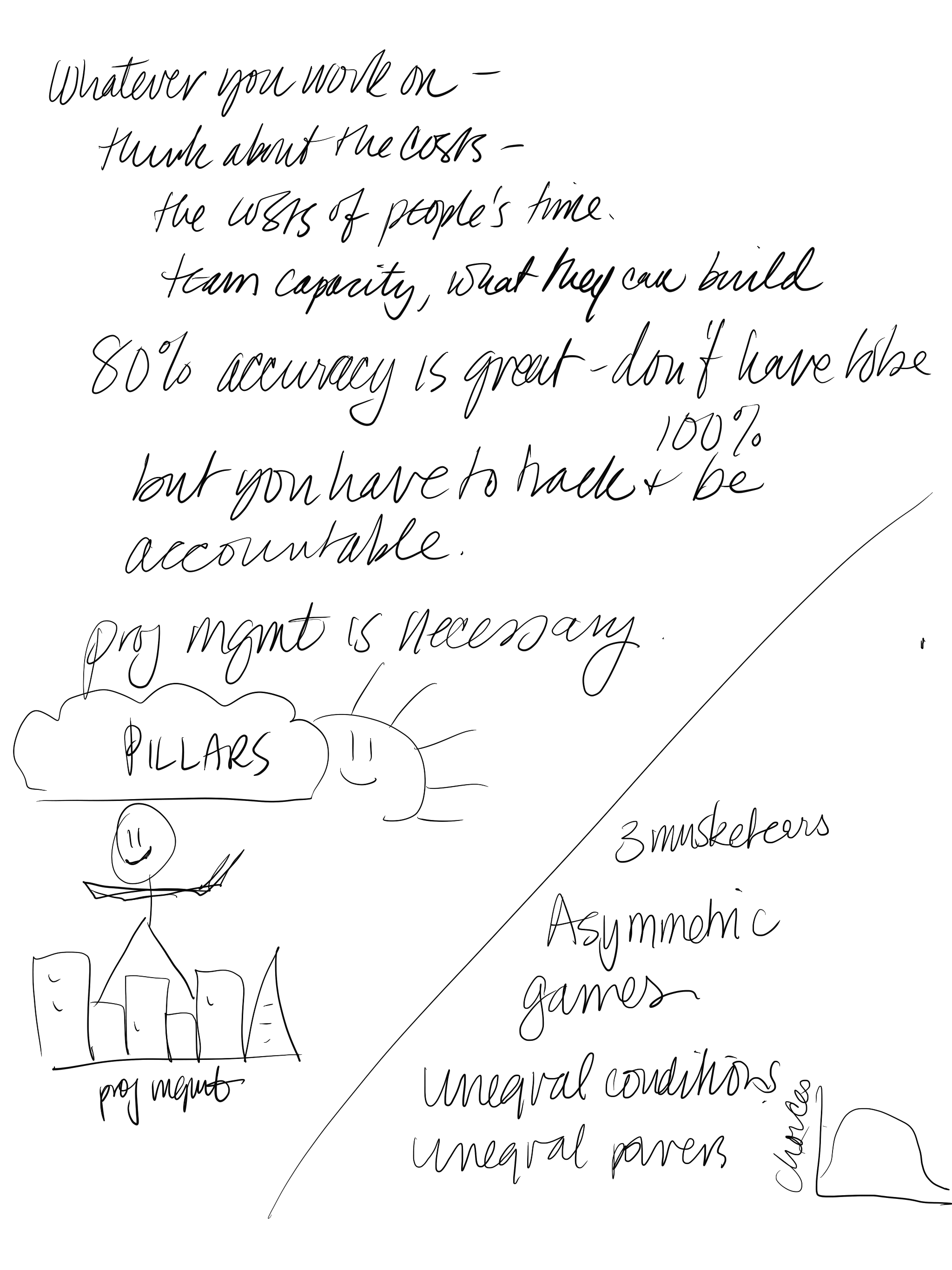 Example from my notes, he was very animated when talking about how his role helps connect the lofty goals to the reality of day-to-day