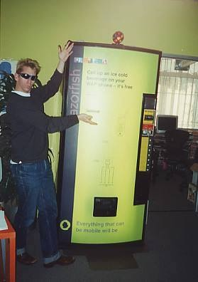 circa 1999-2000: Mobile innovation coming from our super small and cooky tribe, demonstrating that everything that can be digital will be. Model: dear (and deeply missed)friend Michael Mattis