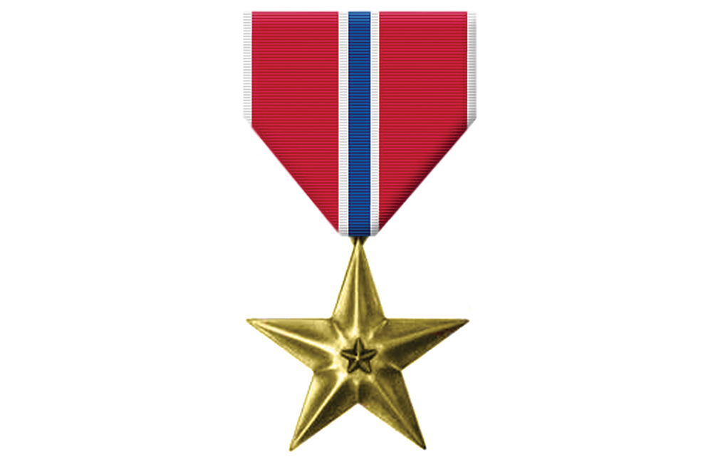 Awarded the  Bronze Star  for Bravery in Action