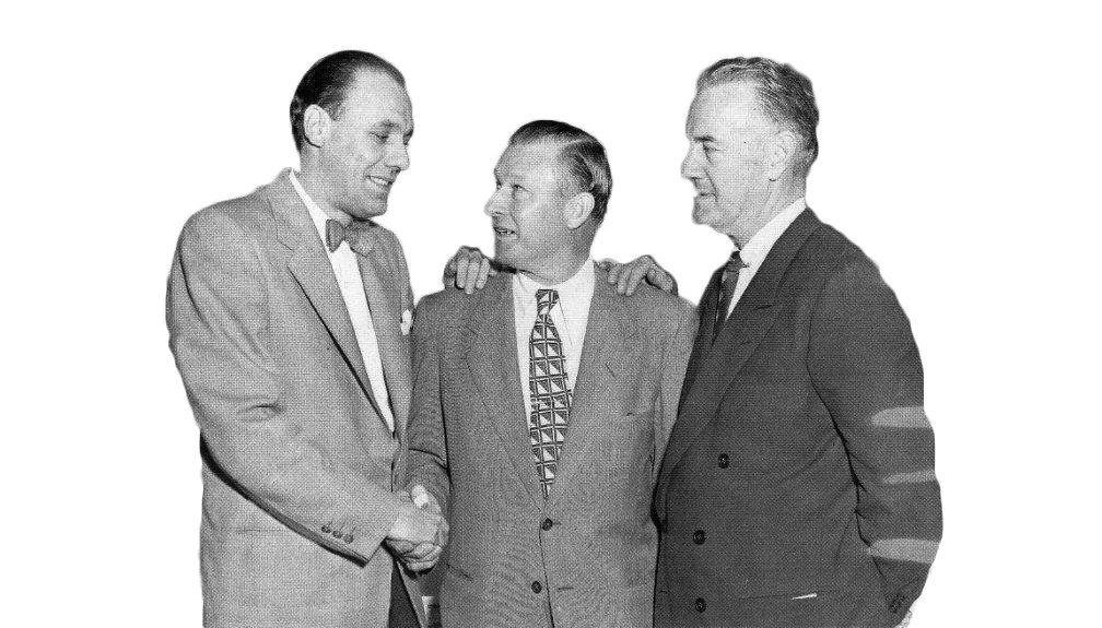 Bavasi with Dodgers Manager Chuck Dressen (center) and VP Fresco Thompson.