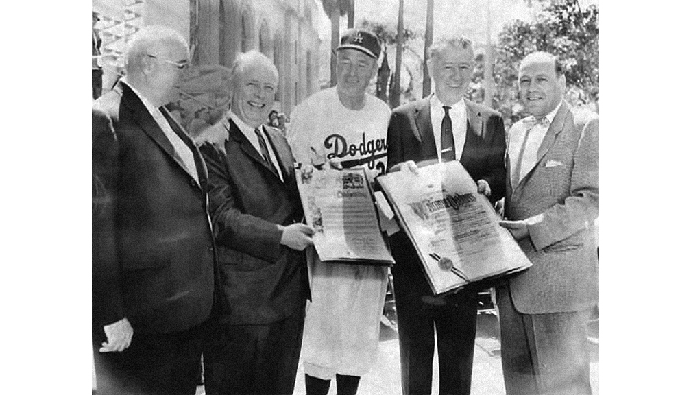 Bavasi with Dodgers Manager Walter Alston and Los Angeles elected officials at City Hall.