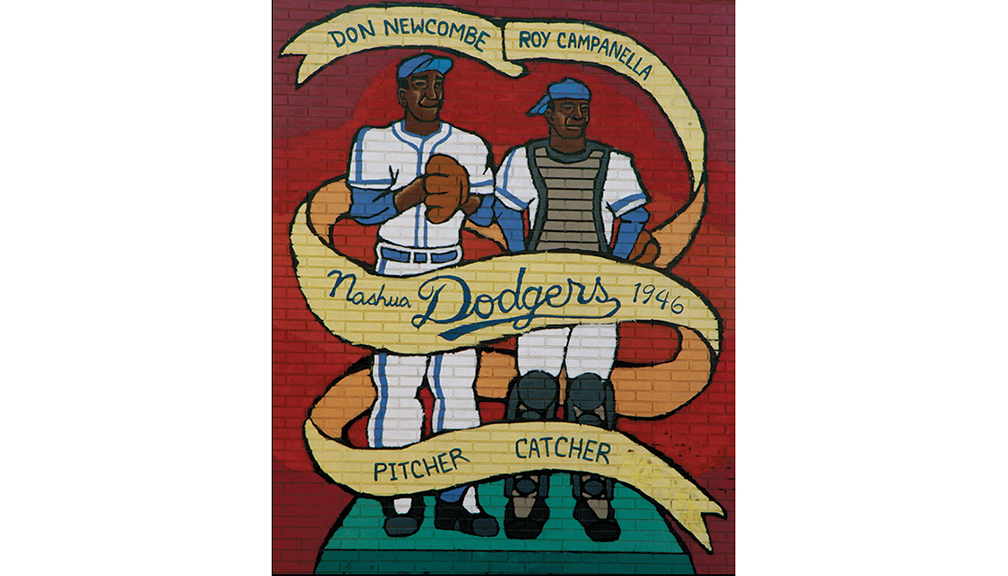 Nashua (New Hampshire) Dodgers , Class B, New England League: Business Manager     Honoring Roy Campanella and Don Newcombe, organized baseball's first black battery of the 20th century, this mural in Nashua, N.H., remains a testament to the historic integration of the game there in 1946.
