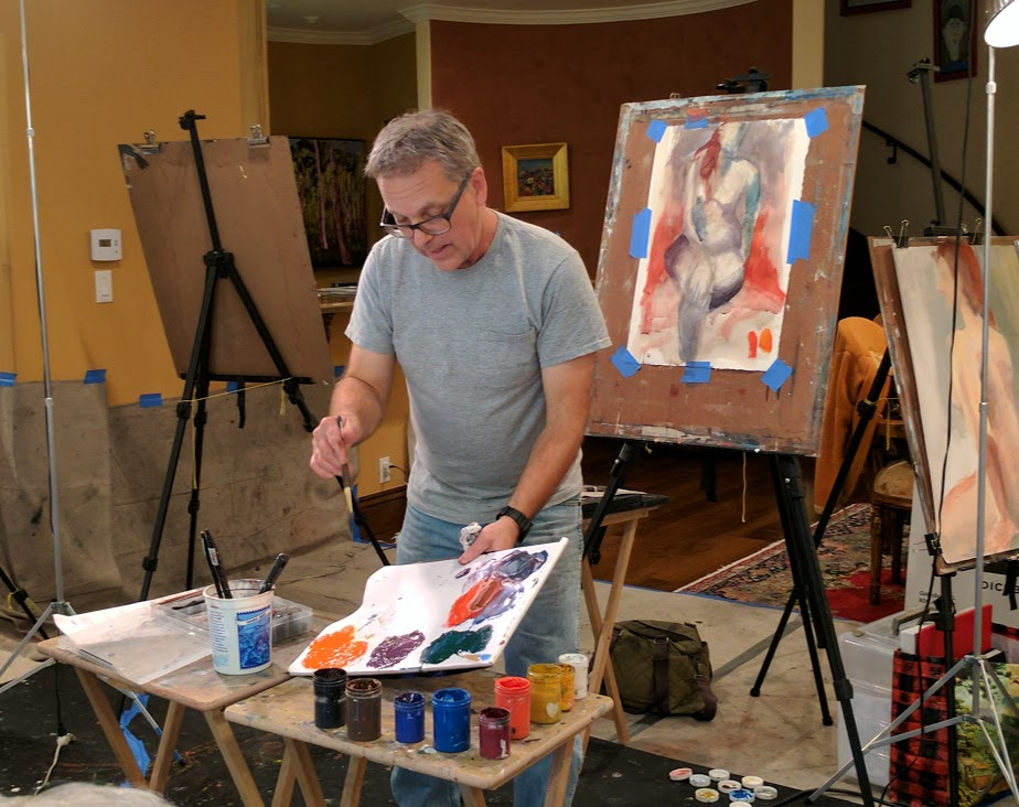 Conducting a color mixing and painting demonstration for my recent 2 day workshop in Santa Monica, CA.