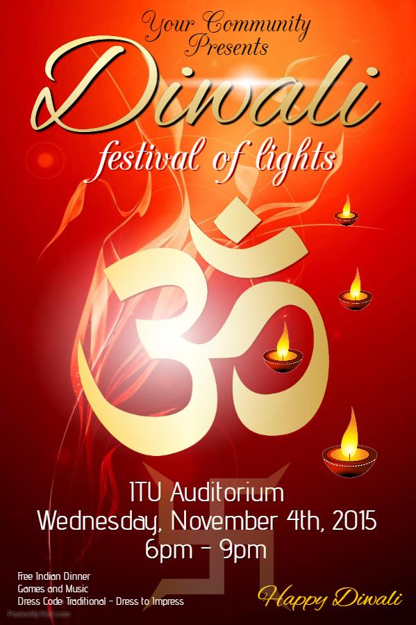 Red Diwali Poster