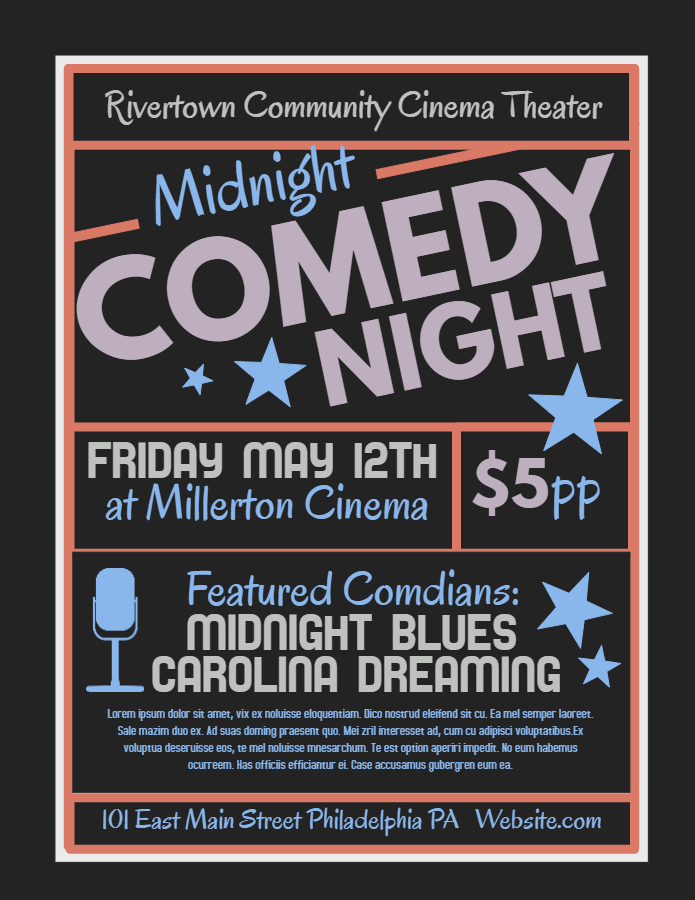 Black board Comedy Night flyer template