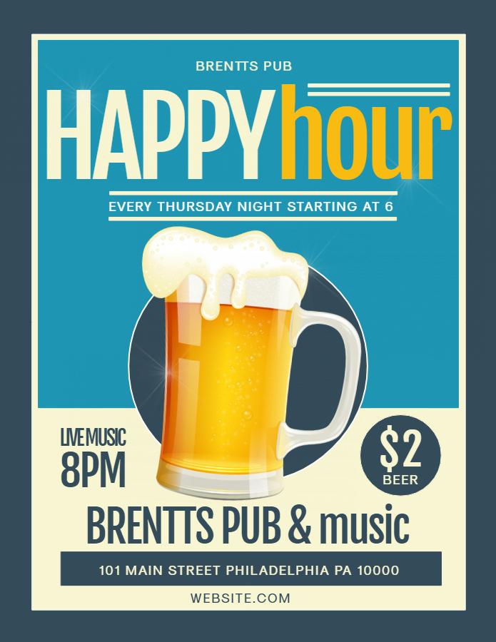 80's happy hour flyer design