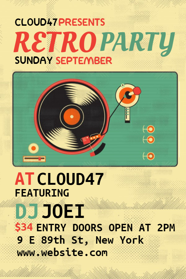 Retro party night flyer template