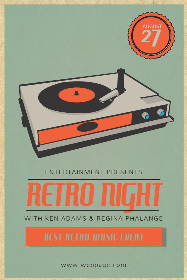 Retro party night flyer invite