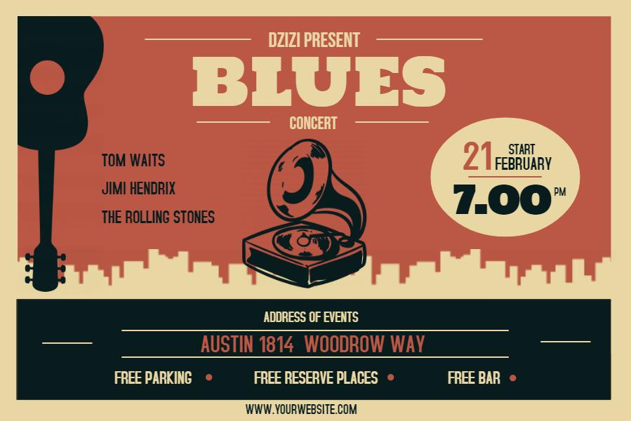 Vintage Blues Concert Poster Idea