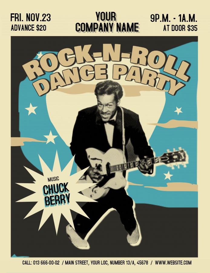 Rock n Roll dance party vintage flyer