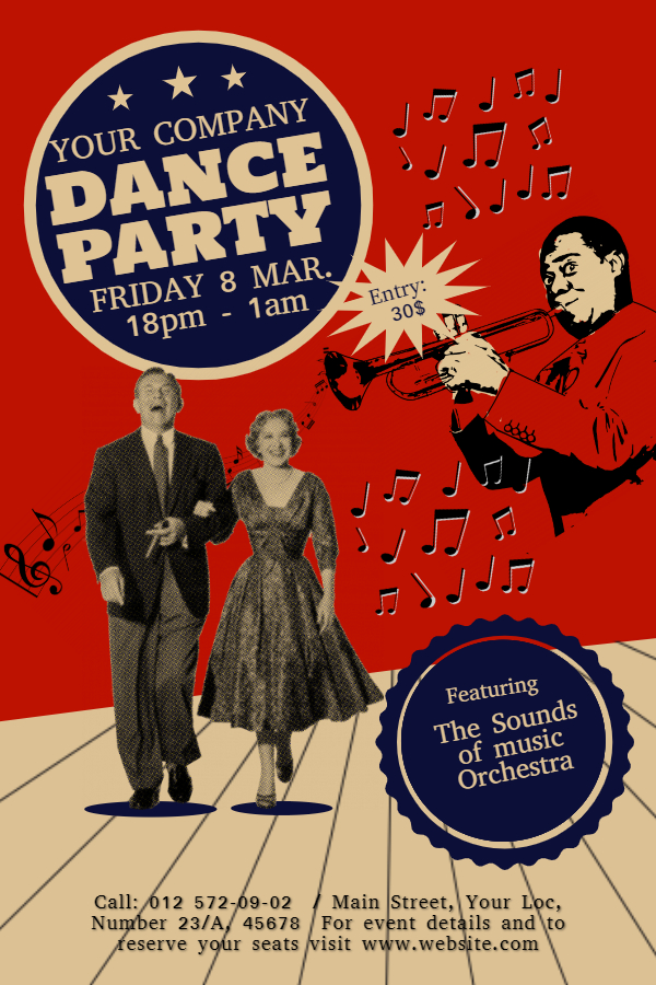 Vintage red dance party flyer