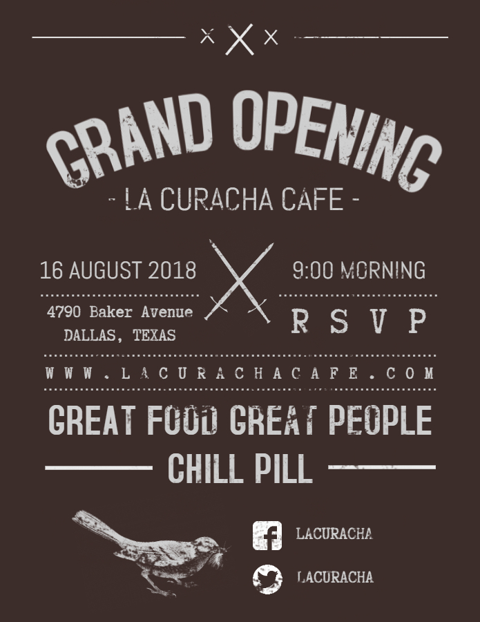 80's cafe grand opening flyer