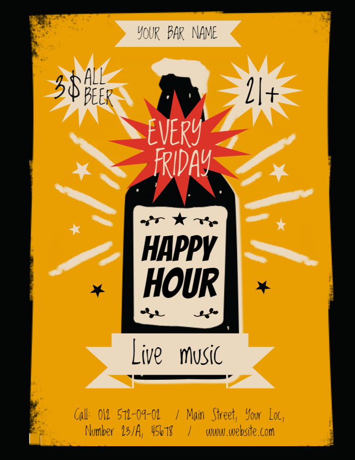Vintage Happy Hour Poster