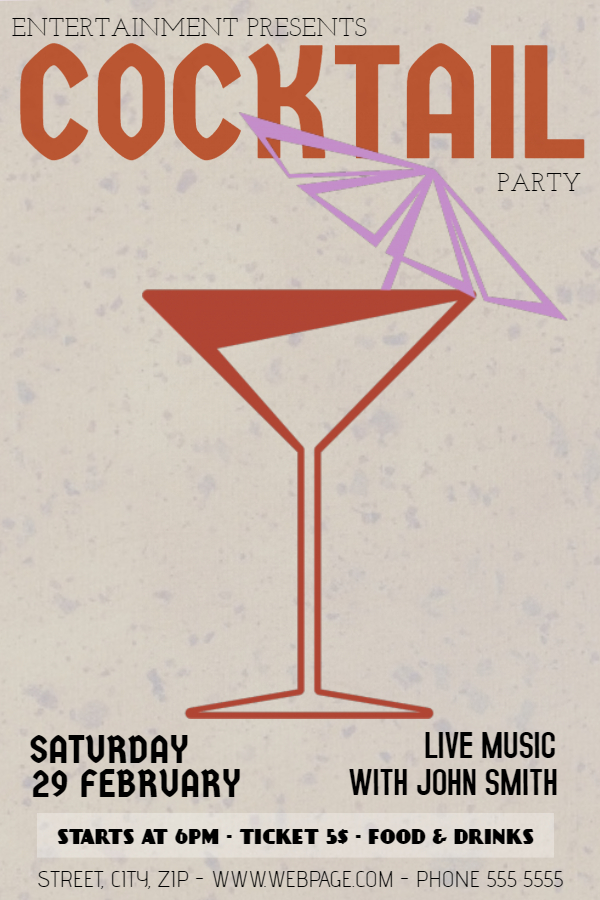 Vintage cocktail party flyer template