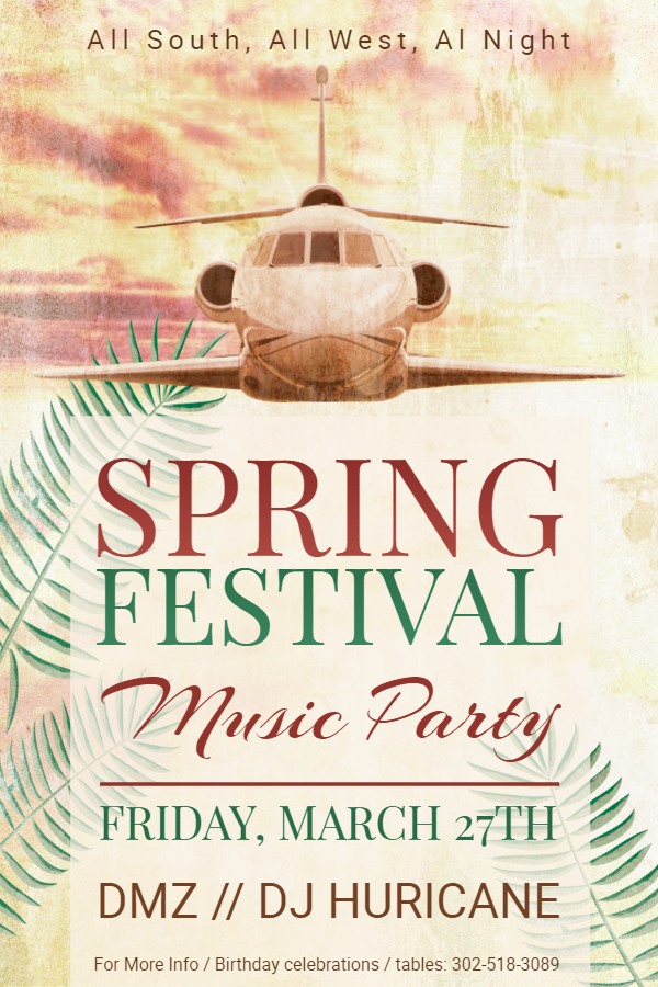 Vintage spring party flyer template