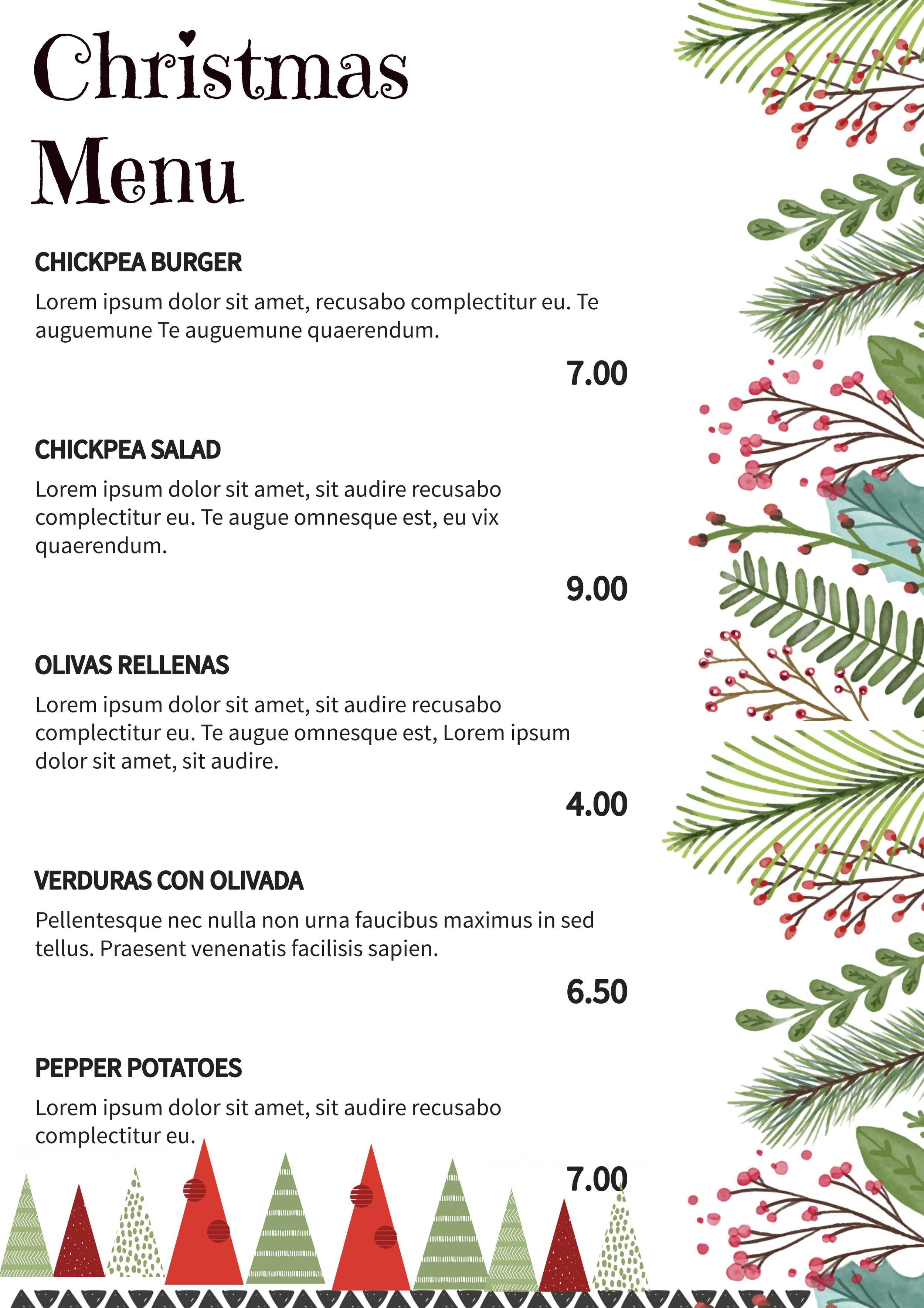 Christmas trees menu