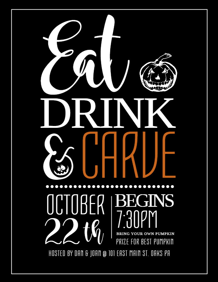 Eat Drink and Carve Halloween flyer