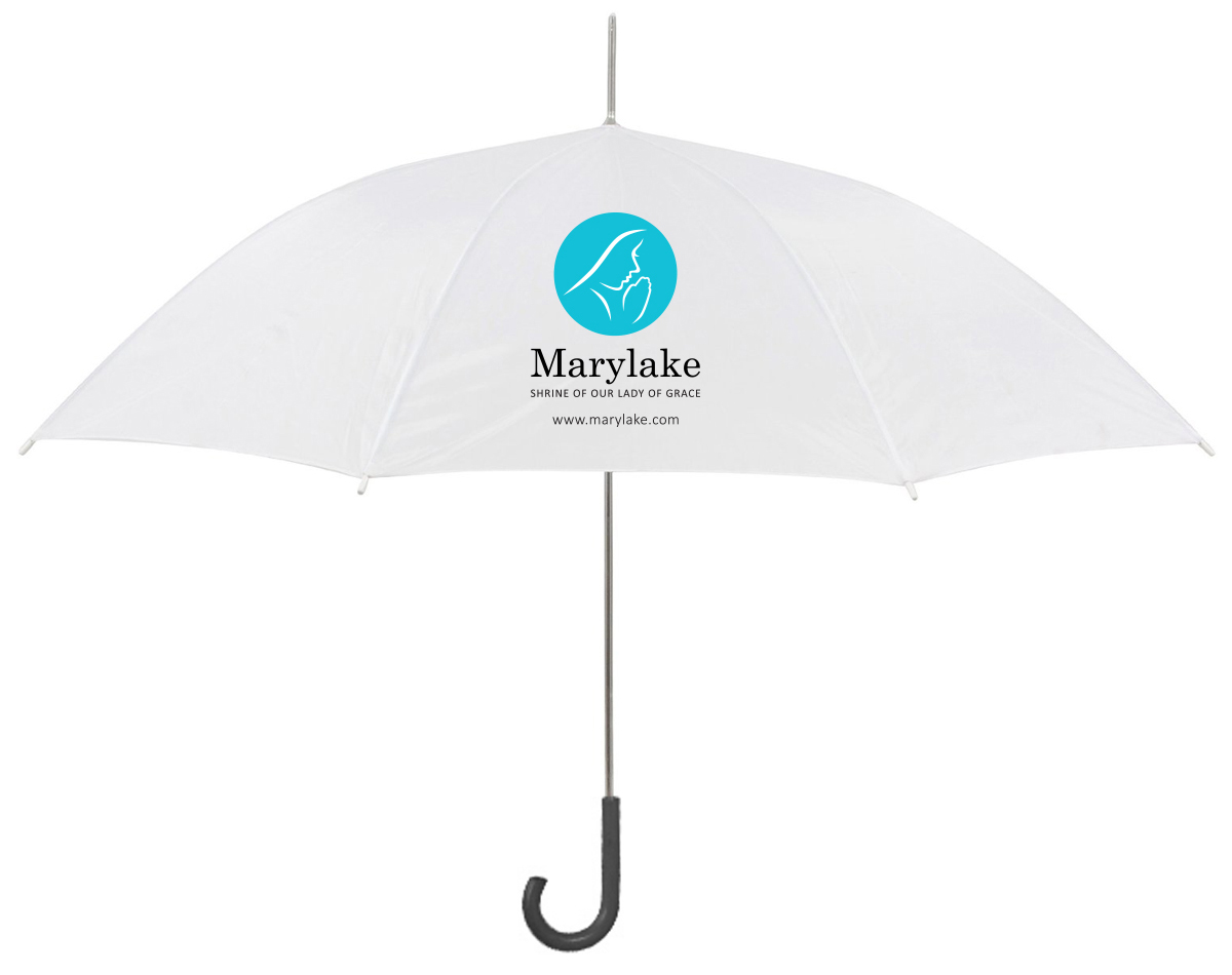 Stick umbrellas are white with the Marylake logo on one side and the Augustinian logo on the other.