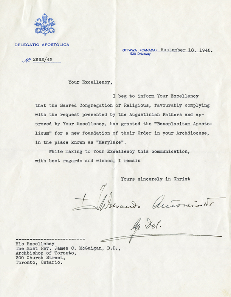 Letter from Rev. James McGuigan, September 18, 1942. Click on the image for a larger view. Photo: Archdiocese Toronto