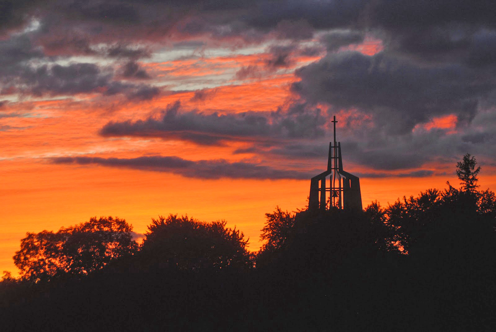 Marylake Shrine of Our Lady of Grace, at sunset. Click on the image for a larger view. Photo: Barry Wallace