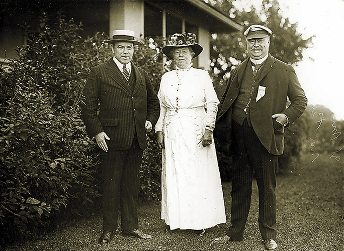 1911 - Marylake was originally the property of Sir Henry Pellatt, the founder of Casa Loma. Left to right: Prime Minister Mackenzie King, Lady Mary Pellatt and Sir Henry Pellatt at Marylake. Photo: Archdiocese Toronto