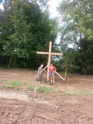 Joe Gennaro, Executive Director of Marylake and Ted inspect the 1st Cross after installation.