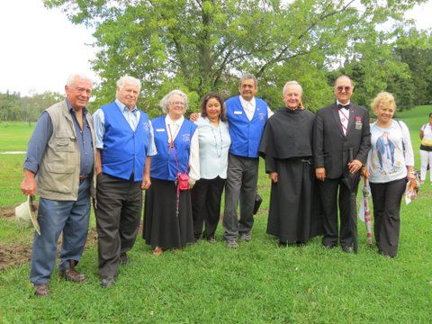 Past Prior, Brother Paul Koscielniak, Ted Harasti, (Designer, Creative Director and Project Manager), Vince Tuzy, QHRS, Rose Nadeau, QHRS, Jenny and Vishnu Rampersad, 1st. Ambassador QHRS, Jaime Libaque (past Chairman, KofC, TEAZ) and Mrs. Libaque.