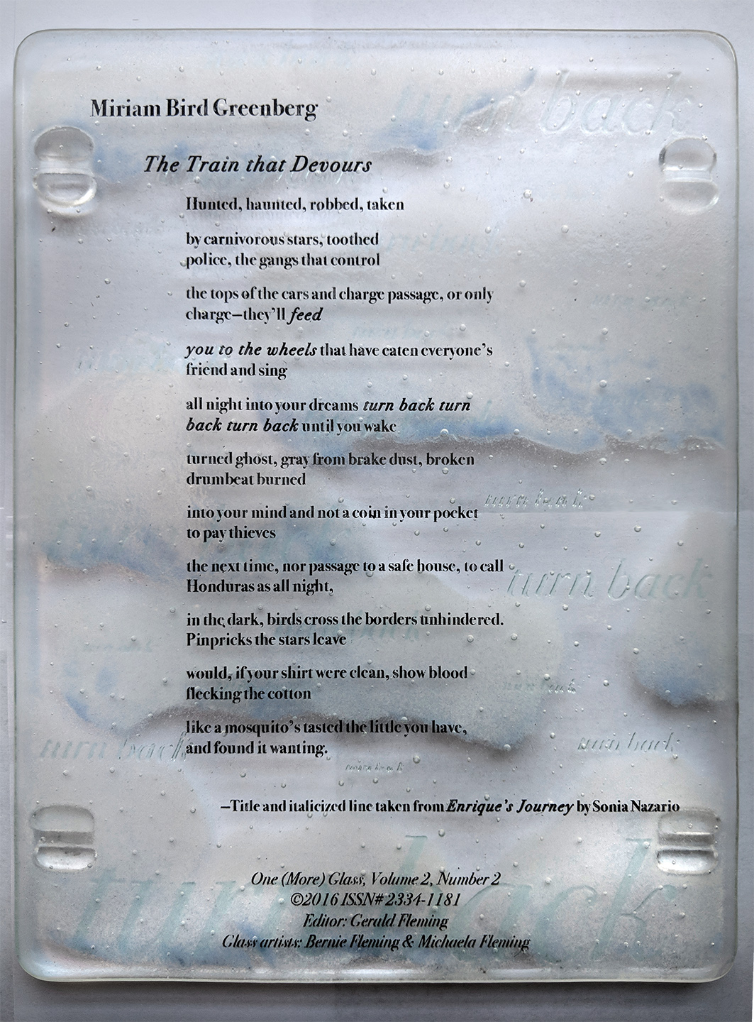 """The Train That Devours"": Limited Edition Broadside   YEAR: 2016 PUBLISHER: One (More) Glass  DROP ME A NOTE if you're interested in purchasing this one & I'll fill you in on the details."