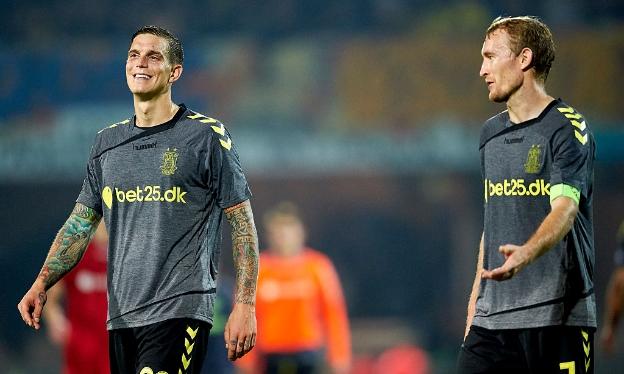 Daniel Agger og Thomas Kahlenberg.FOTO: Lars Ronbog / FrontZoneSport via Getty Images