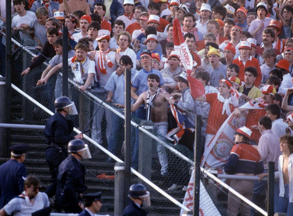 Heysel stadion i Bruxelles 1985. Tragedien kostede 39 mennesker livet.