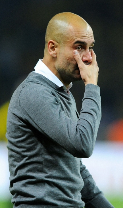 Pep Guardiola i tårer efter pokalsejr over Dortmund.   Foto: Uwe Kraft/Anadolou Agency/Getty Images