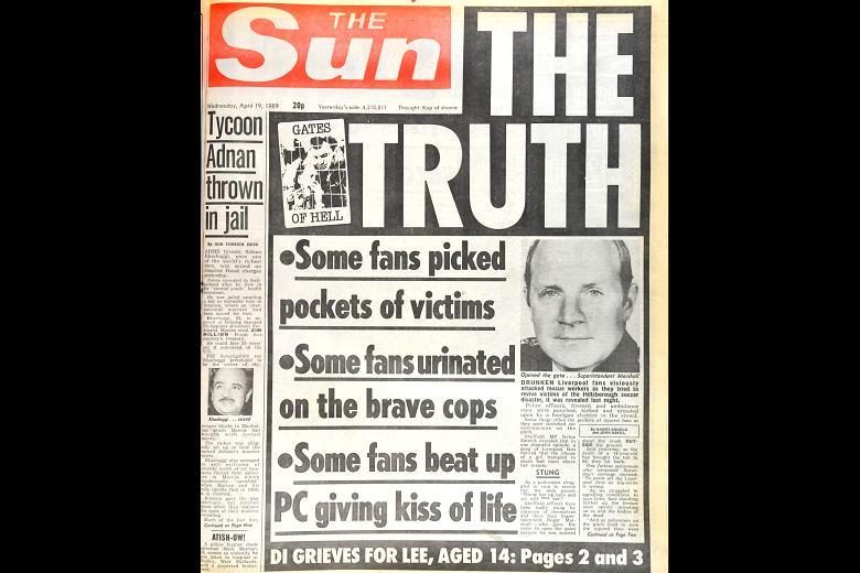 Den famøse forside fra The Sun, der blev et pejlemærke på uretfærdigheden og de fejlagtige konklusioner.