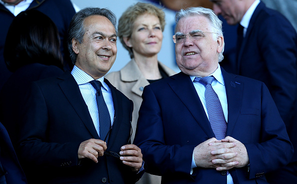 Evertons nye ejer, Farhad Moshiri, med Bill Kenwrigth. Foto: Getty Images/Jan Kruger.