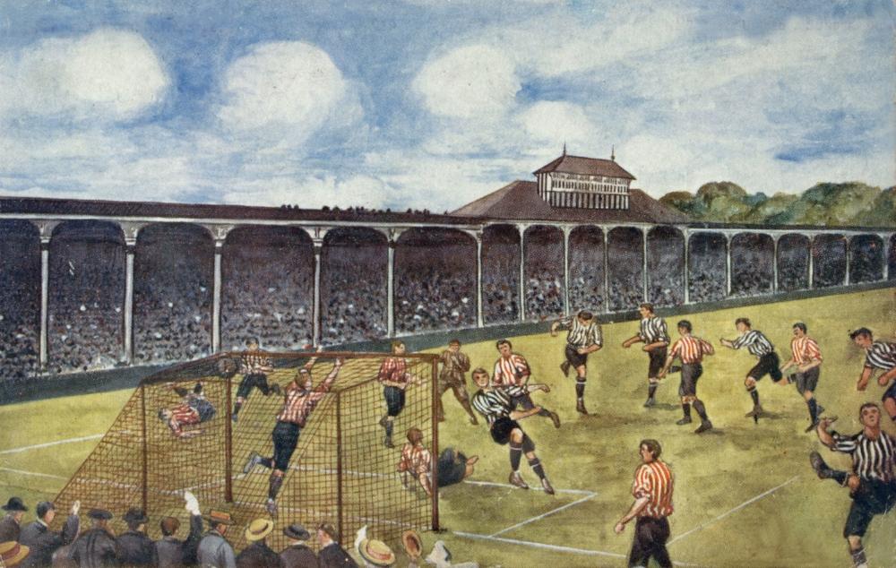 Billedet er fra omkring 1904 og viser en kamp mellem Newcastle og Sunderland på St. James Park.