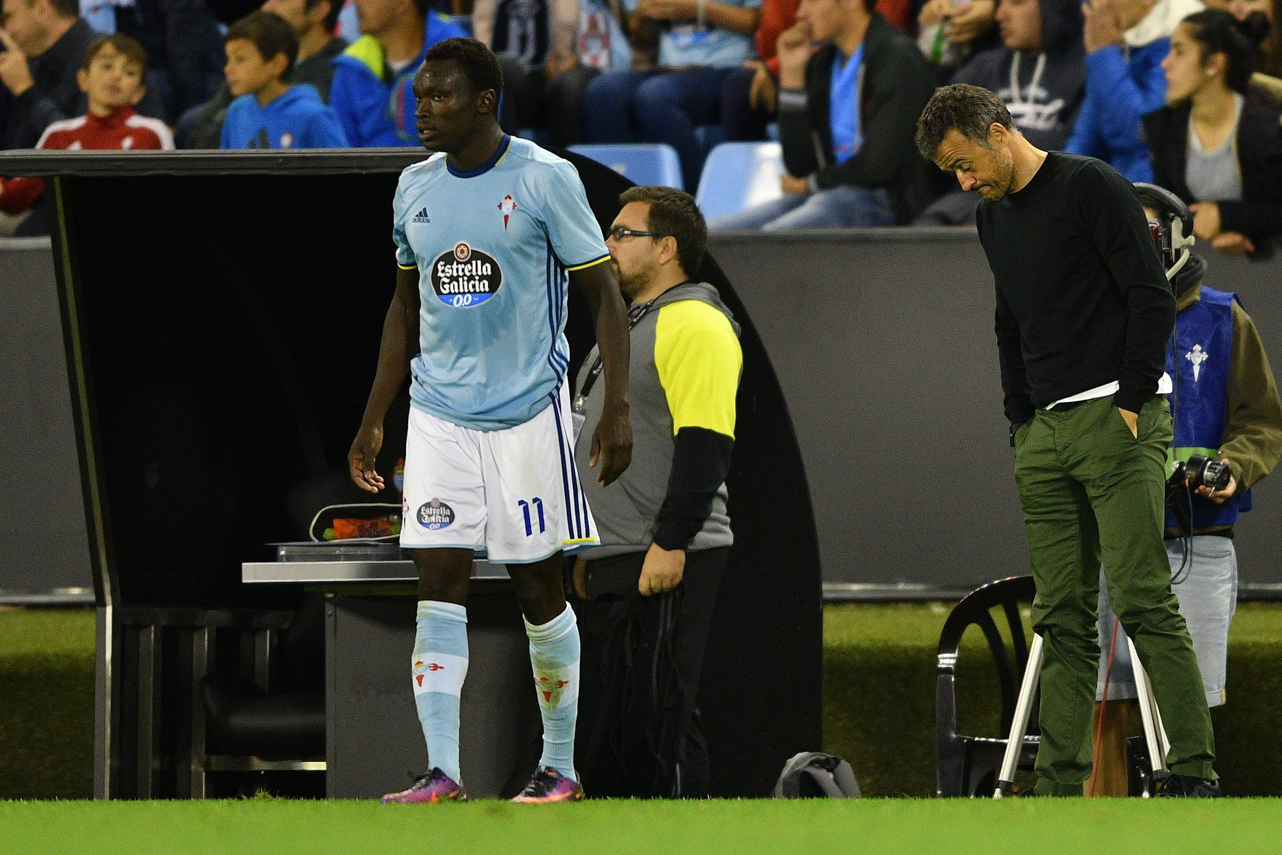 Pione Sisto scorede sit første mål på hjemmebane og var med til at gøre Luis Enriques aften endnu mere skidt.   Foto: Getty Images