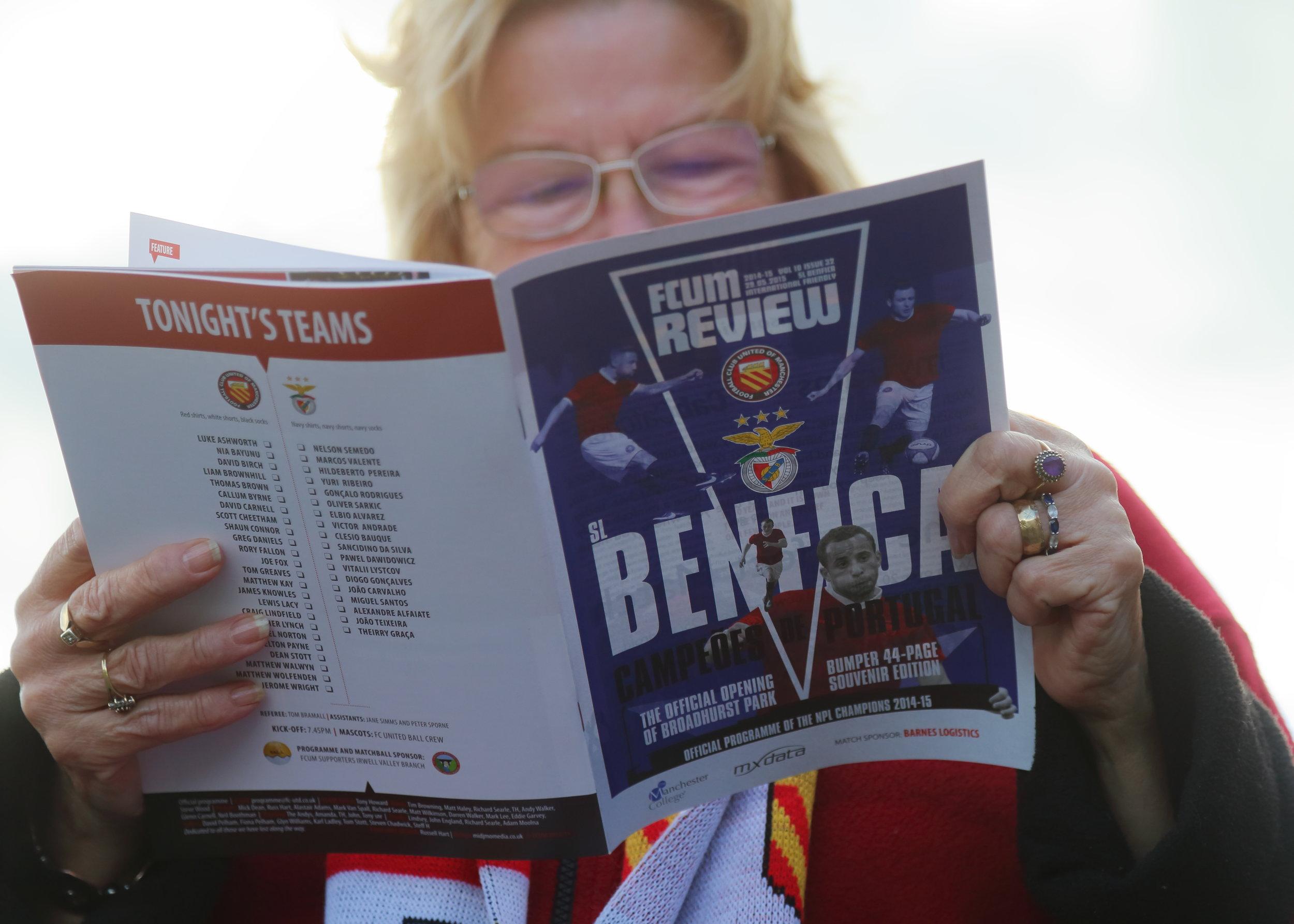 Det famøse kampprogram, der var ved at få FC United of Manchester til at bryde sammen.   Foto: Getty Images