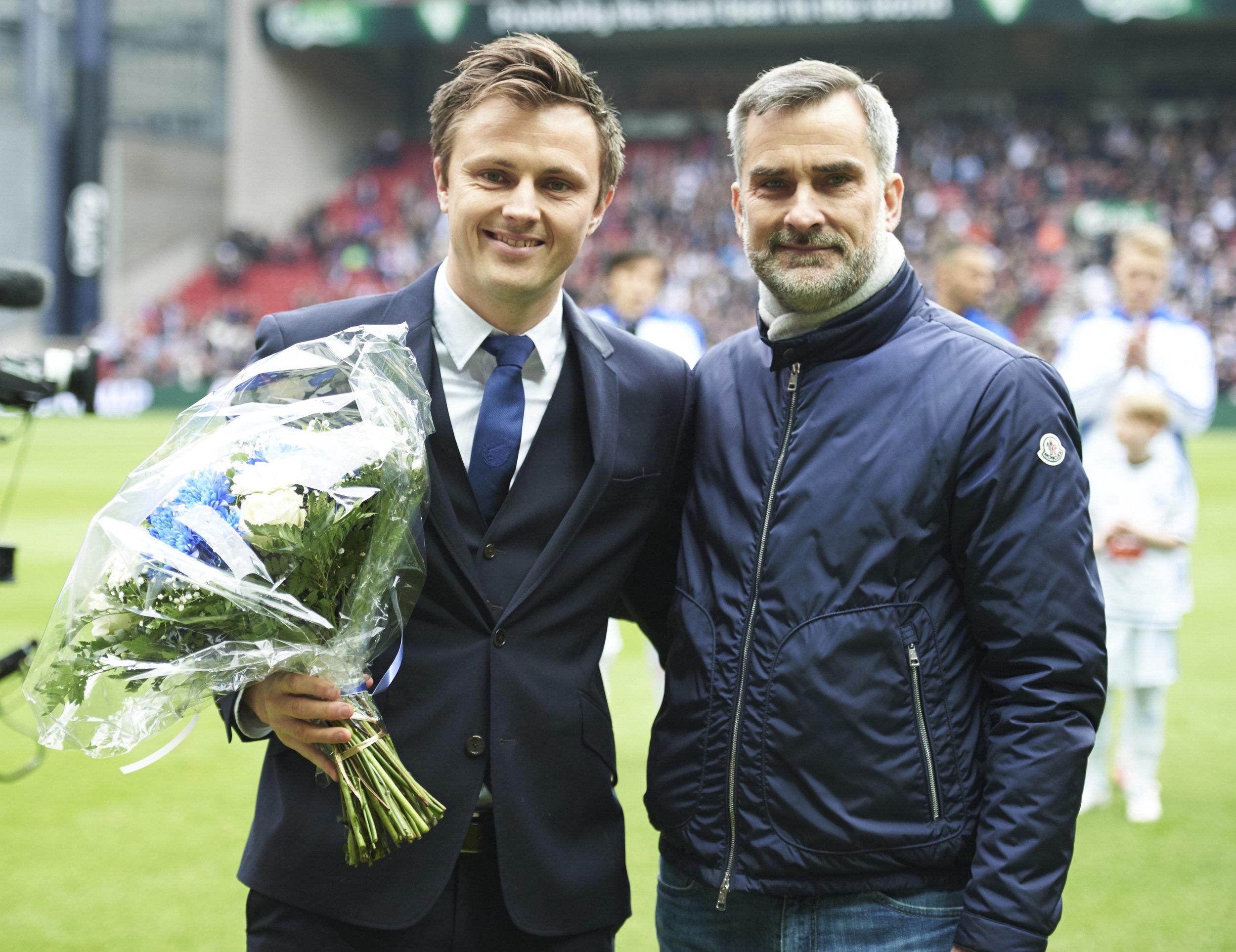 William Kvist og direktør Anders Hørsholt. Foto: Jan Christensen/Getty Images.