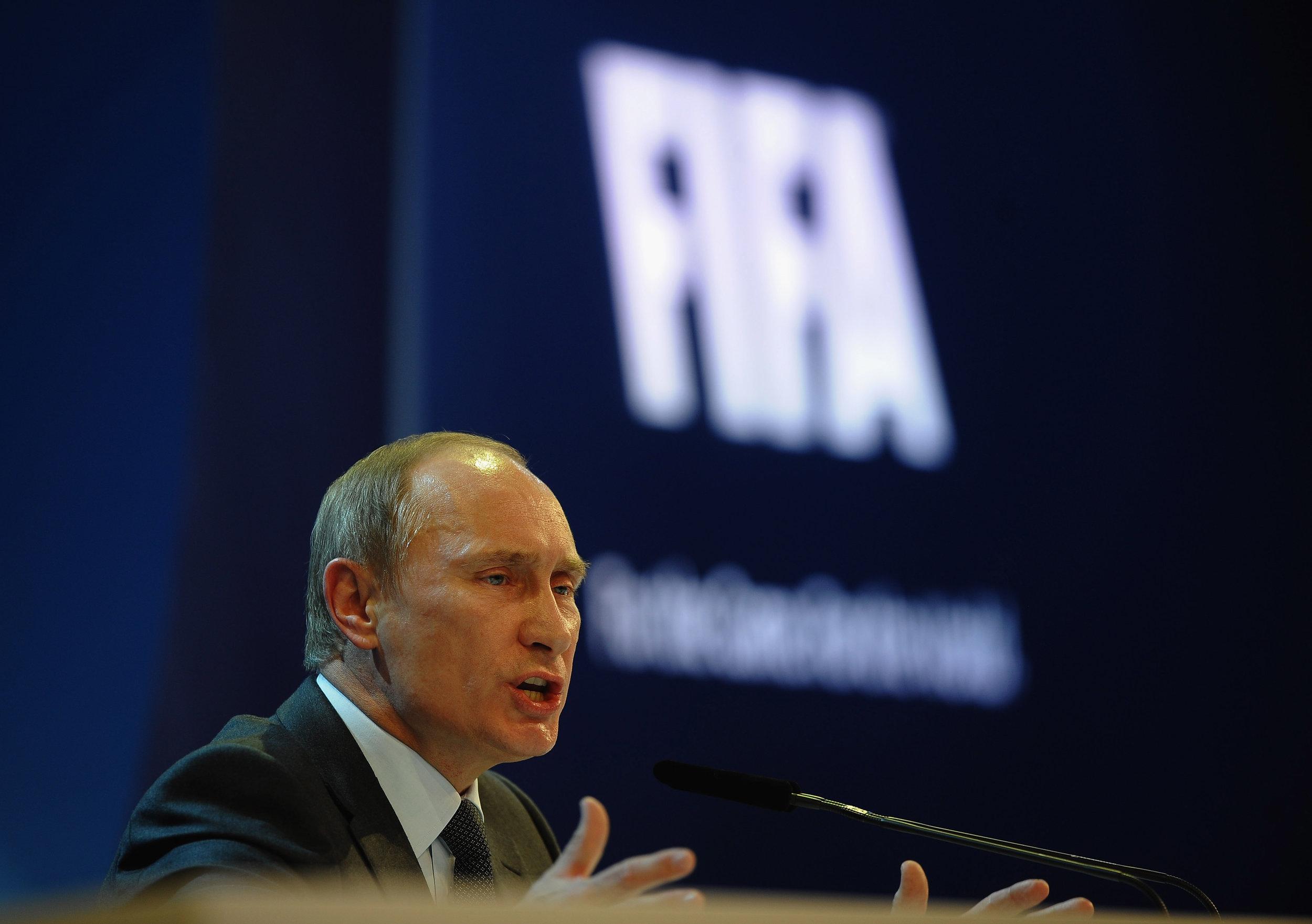 Vladimir Putin ved lodtrækningen til VM-slutrunden i år. Foto: Getty Images