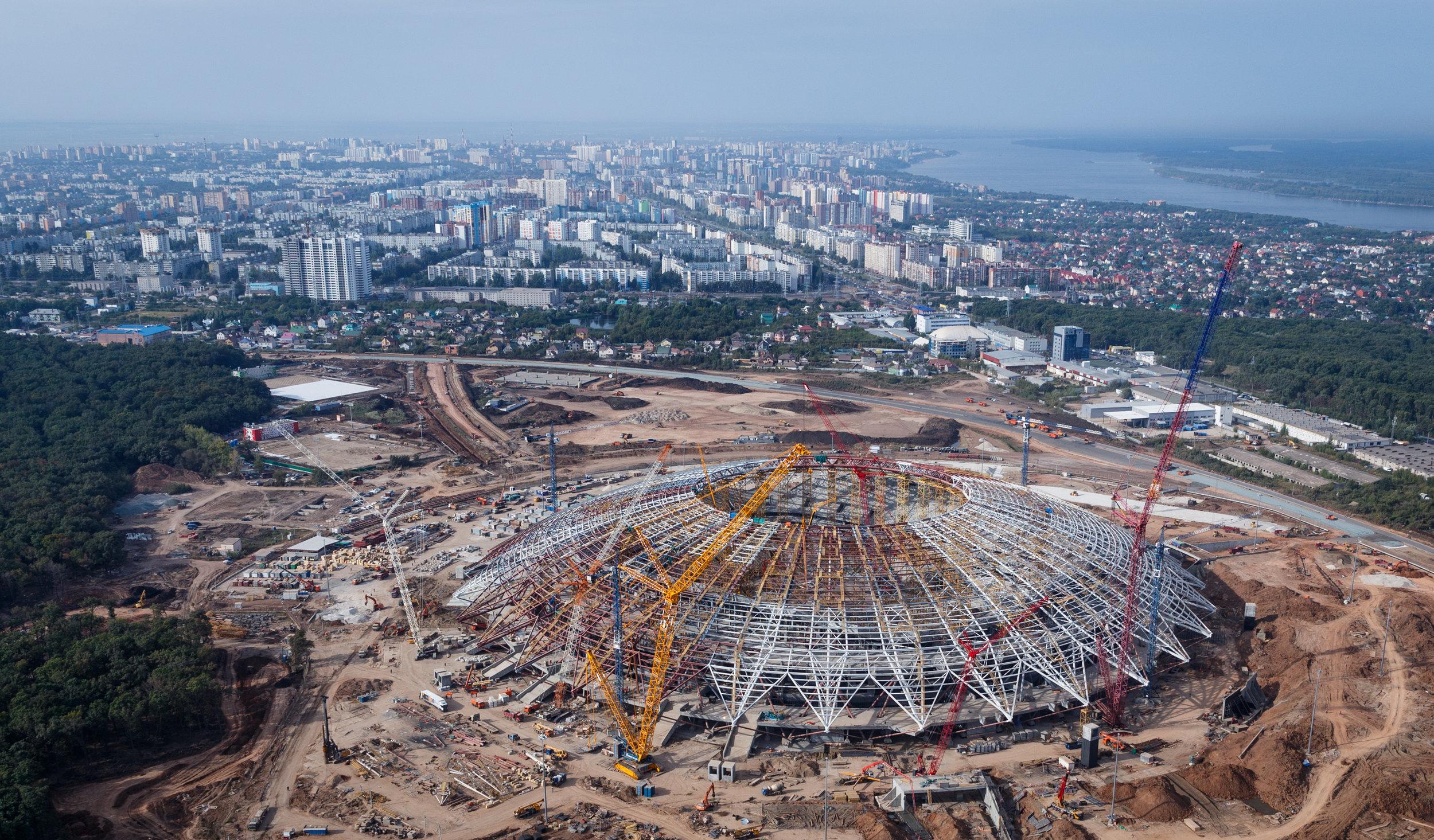 Et billede fra en af værtsbyerne, Samara, der er taget i august 2017, mens stadion stadig var under opførelse. Foto: Getty Images