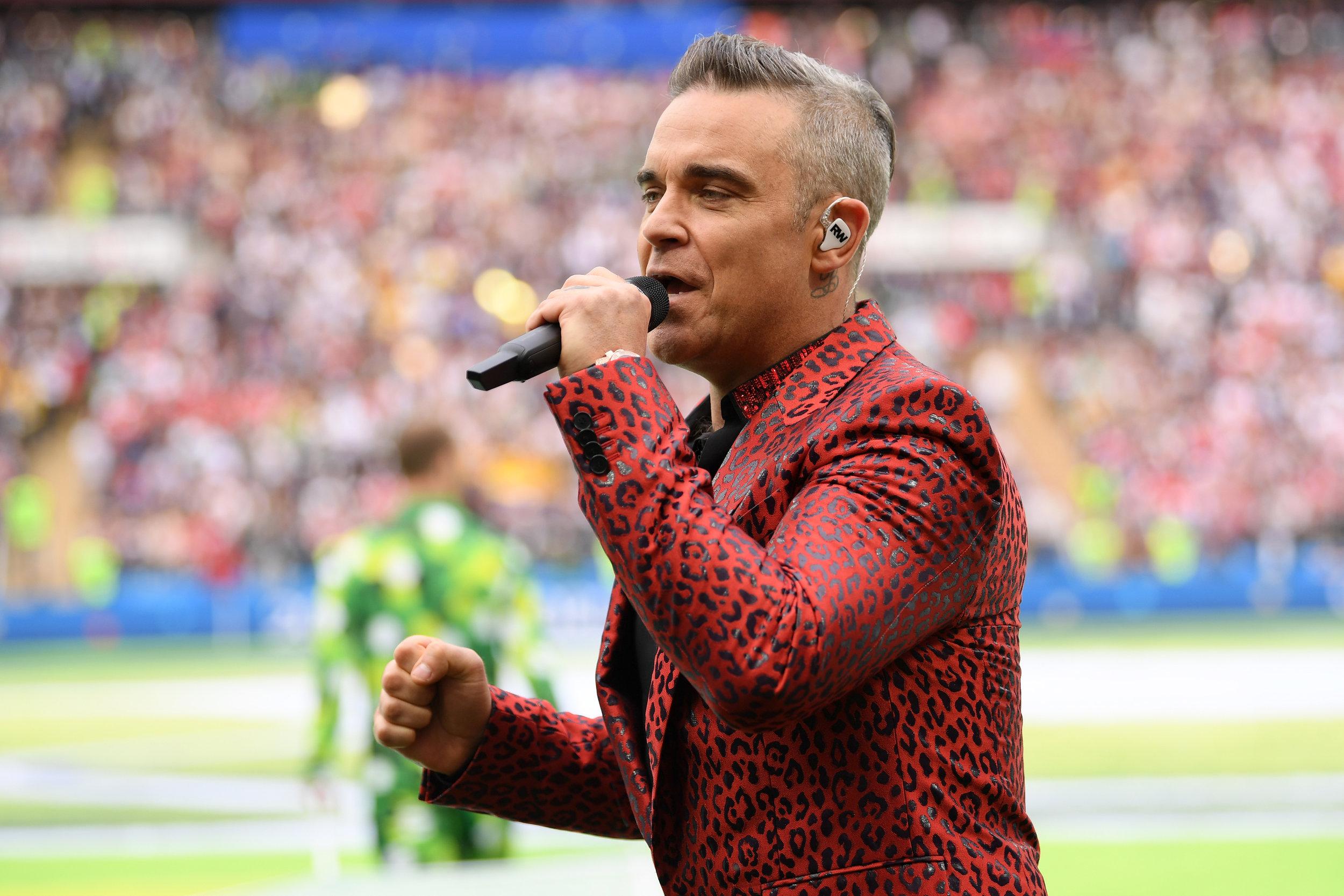 Robbie Williams under åbningsceremonien. Foto: Getty Images