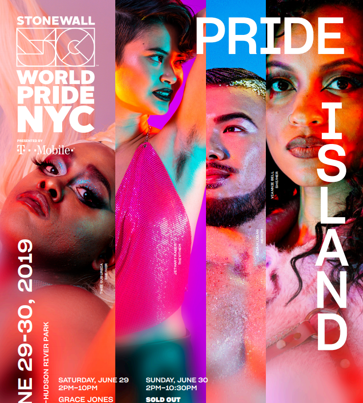 Pride Island Promotional Material (Social Media and NYC Pride Website) 50th anniversary of stone wall campaign for June 2019 NYC World Pride.