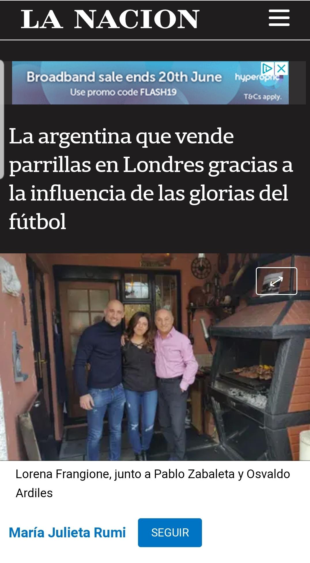 La Nacion Newspaper, Argentina May 2018 - Written by Maria Julieta Rumihttps://www.lanacion.com.ar/economia/la-argentina-que-vende-parrillas-en-londres-gracias-a-la-influencia-de-las-glorias-del-futbol-nid2127027