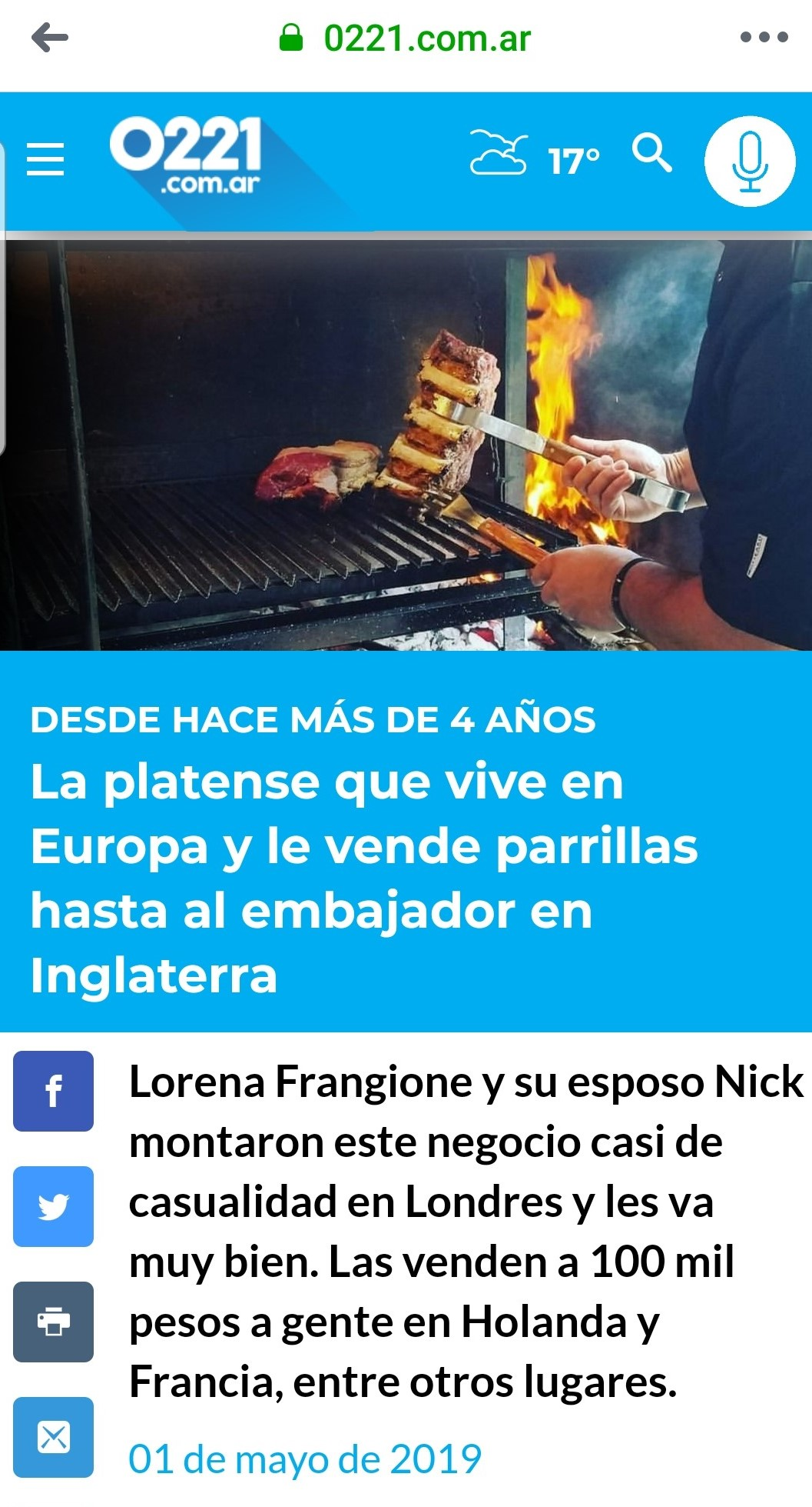 La Plata 0221.com Argentina May 2019 - https://www.0221.com.ar/nota/2019-5-1-7-56-0-lorena-frangione-la-platense-que-vive-en-europa-y-le-vende-parrillas-hasta-al-embajador-argentino-en-inglaterra