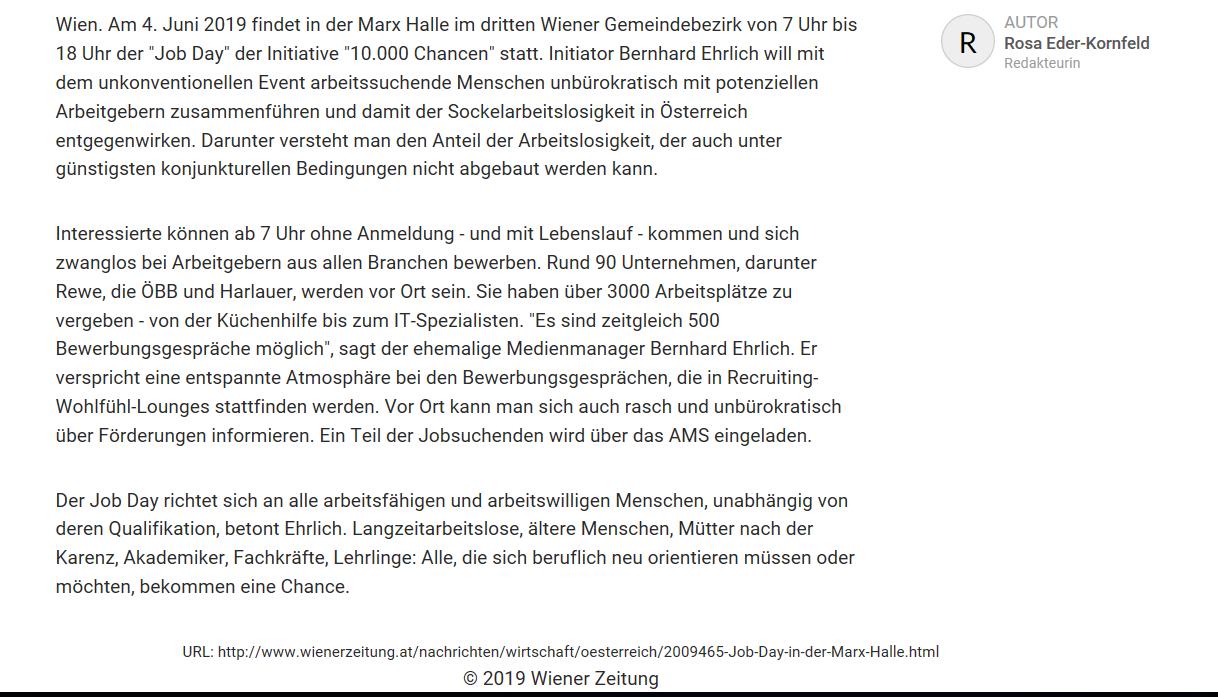Wiener Zeitung vom 15.5.2019  https://www.wienerzeitung.at/nachrichten/wirtschaft/oesterreich/2009465-Job-Day-in-der-Marx-Halle.html